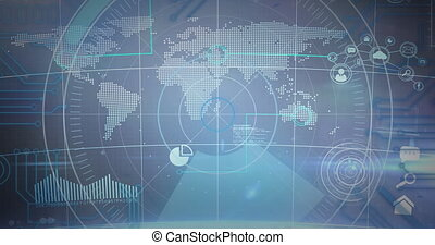 monde numérique, sur, rond, fond, scanner, bleu, carte, icônes