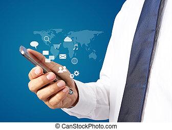 mondial, connexion, interface, homme affaires, technologie, smartphone.
