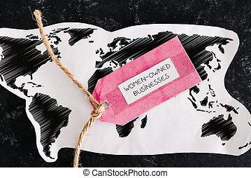 mondiale, étiquette, soutenir, carte, business, sur, égalité, globalement, women-owned