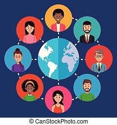 mondiale, autour de, gens