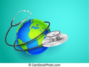 mondiale, autour de, projection, monde médical, fond, la terre, santé, jour, stéthoscope