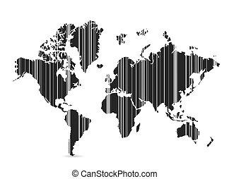 mondiale, barcode, conception, illustration, carte