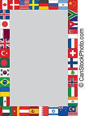 mondiale, cadre, drapeaux, icônes