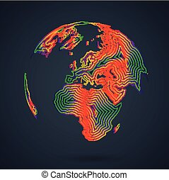 mondiale, carte, vecteur, illustration, coloré