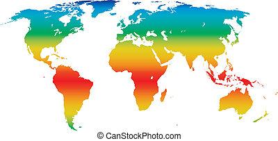 mondiale, climat, vecteur, carte