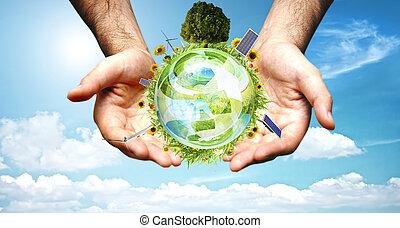 mondiale, concept, vert