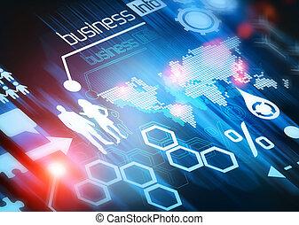 mondiale, connecté, business