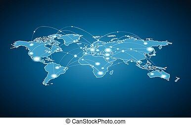 mondiale, connexion, global, -, carte