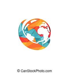 mondiale, design., main, soin, logo, concept., logo., global, sauver
