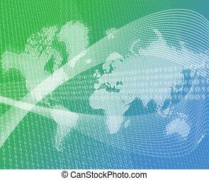 mondiale, données, vert, transfert