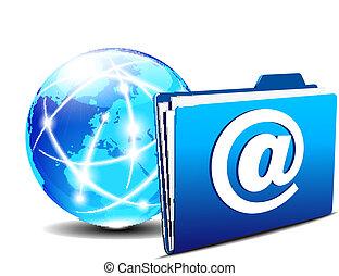 mondiale, dossier, email, internet