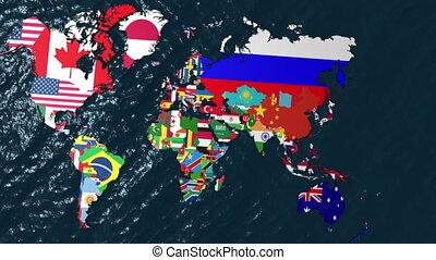 mondiale, drapeau, inde, zoom, 3d