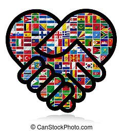 mondiale, drapeaux, coopération