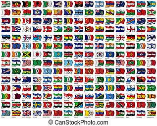 mondiale, ensemble, drapeaux