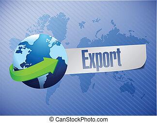 mondiale, exportation, conception, illustration, carte