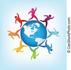 mondiale, gens, autour de, amériques