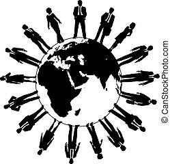 mondiale, gens, main-d'oeuvre, equipe affaires