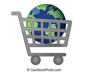 mondiale, globalisation, chariot