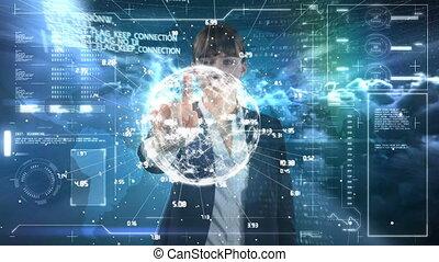 mondiale, information numérique, projection, animation, utilisation, carte, homme affaires, interface
