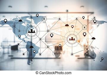 mondiale, interface, map., travail, bleu, éloigné