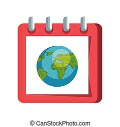mondiale, la terre, calendrier, planète, rappel