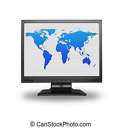 mondiale, lcd, écran, carte