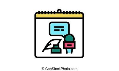mondiale, liberté, jour, presse, icône, animation, couleur