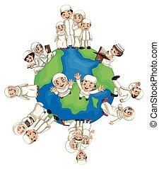 mondiale, musulman, autour de, gens