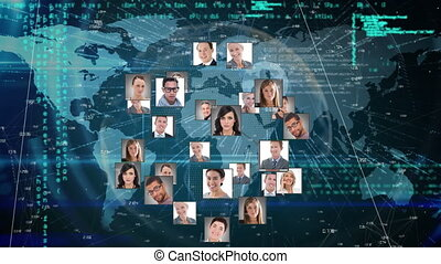 mondiale, numérique, images, business, information, gens, projection, animation, carte, interface
