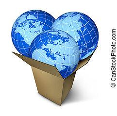 mondiale, paquet, expédition