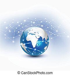 mondiale, réseau, vecteur, illustration, maille
