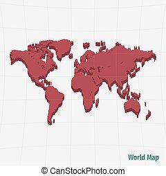 mondiale, rouges, carte