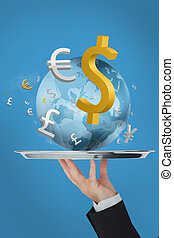 mondiale, serveur, présentation, monnaie