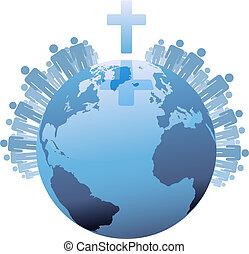 mondiale, sous, populations, la terre, croix, global, chrétien