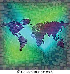 mondiale, sur, carré, fond, carte