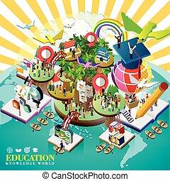 mondiale, sur, concept, education