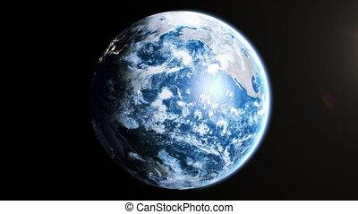 mondiale, technologie, fait boucle, la terre, uhd, 4k, vue, réaliste, business, seamless., animation., 3840x2160, 3d, satellite., tourner, planète, journée, soleil, beau, concept., espace, orbite