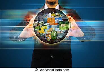 mondiale, tenue, homme affaires, social, réseau