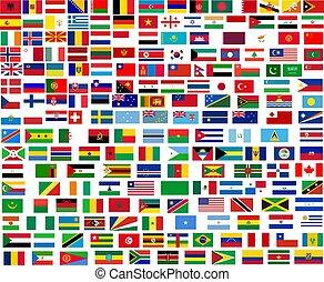 mondiale, tout, drapeaux, pays