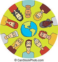 mondiale, uni, autour de, gens