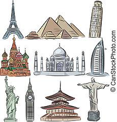 mondiale, vecteur, architectural, collection, émerveillements