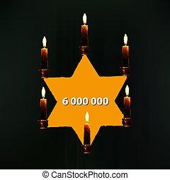 mondiale, yom, holocauste, day., hébreu, azikaron, remembrance., jour, jaune, vecteur, étoile, illustration, candles., commémoratif