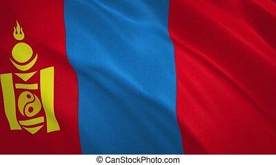 mongolie, fond, drapeau, vidéo, onduler