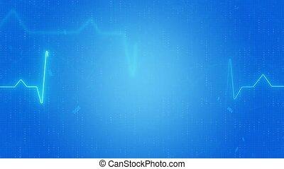 moniteur, battement, pulsation, coeur, ligne, cardiogramme, résumé, pouls, loop., signal, bleu