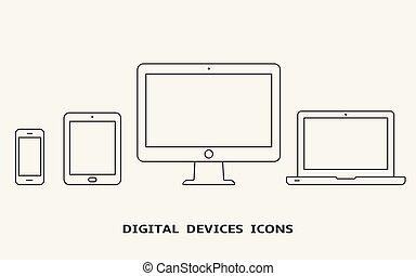 moniteur, ensemble, contour, tablette, icons., ordinateur portable, pc, vecteur, appareil, smartphone