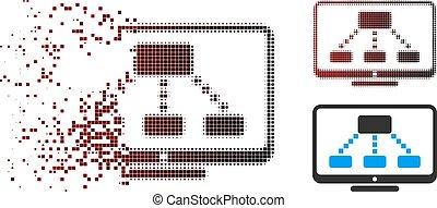 moniteur, hiérarchie, decomposed, halftone, pixel, icône