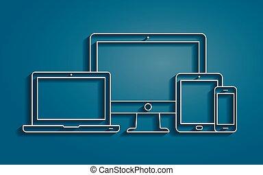moniteur, smartphone, contour, tablette, icônes, ordinateur portable, pc, vecteur