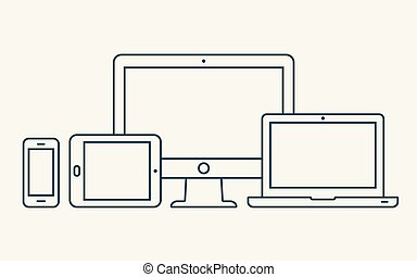 moniteur, smartphone, contour, tablette, icons., ordinateur portable, pc, vecteur
