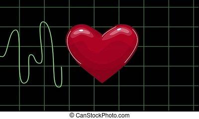 moniteur, spectacles, pulsation, idole, écran, seamlessly, ligne, ekg, boucle, électrocardiogramme, monde médical