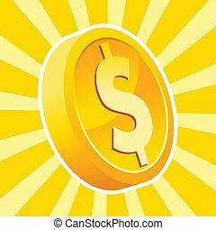 monnaie, brillant, or